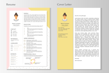 Feminine resume and cover letter with infographic design. Stylish CV set for women. Clean vector. 向量圖像