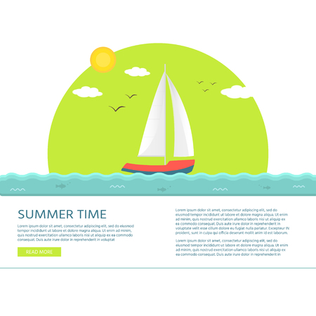 Nautical vehicles: sail boat, ship, vessel, luxury yacht, speedboat with text summer time. Vector flat  icon, concept for web site.