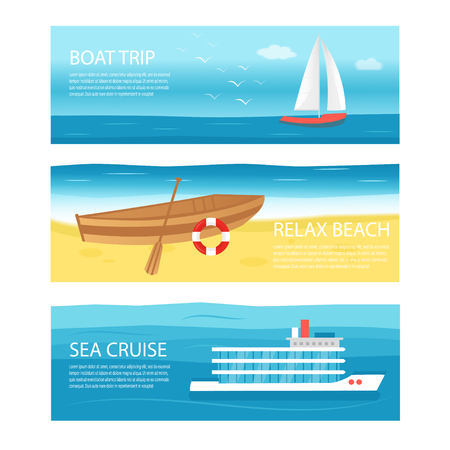 Collection of horizontal banner with sea, ocean and sail boat, ship, vessel, luxury yacht, speedboat, rowboat with wooden paddle and buoy. Creative flyer template for beach summer holiday travel. Vector