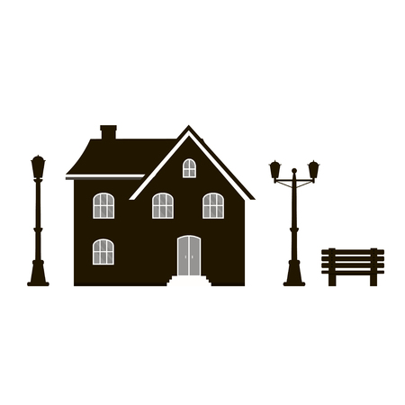 Modern icon silhouette with cozy home, house, cottage, bench and street light. Smart building, black and white color. Flat design urban landscape.