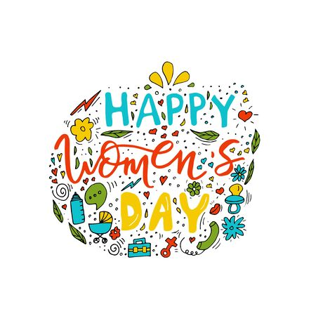 Beautiful card design for happy womens day celebration. Postcard for business woman, mother, girl, lady with flowers and female accesories. Vector.