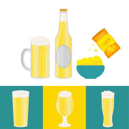 Poster with beer elements vector illustration