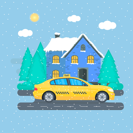 Poster with the machine yellow cab in the city. Public taxi service concept. Cityscape on the winter background. Flat vector illustration. Vettoriali