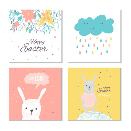Collection of 4 Easter card, banner background, template with beautiful spring flowers, leaves, hearts, dots and rabbit, bunny. Modern postcard or invitation for holliday