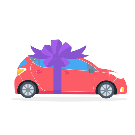 Poster with red machine and ribbon. Car gift concept or presentation of  auto for sale, rent,. Flat vector illustration.