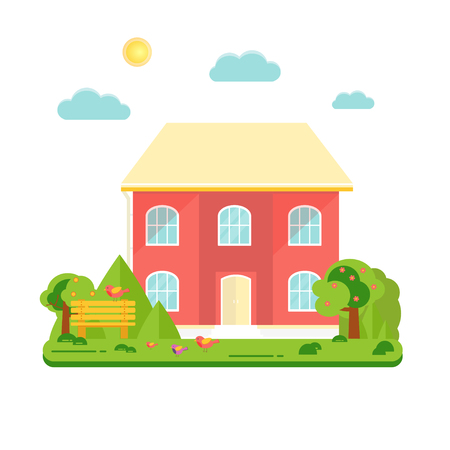 Abstract spring background with cozy home, house, cottage, trees, flowers, bench. Modern building for rent or sale. Flat design urban landscape.