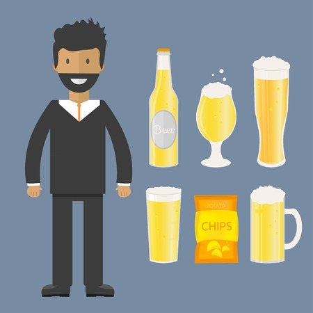 Man with beer bottle, mugs and glasses. Vector icon with alcoholic beverages.