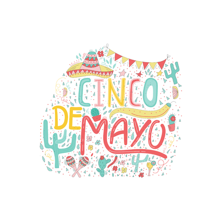 Banner or card for Cinco de Mayo celebration. Holiday poster with hand drawn calligraphy lettering, sombrero, cactus, chilli, tequila and maracas. Vector Mexican fiesta.
