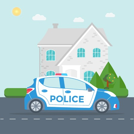 Police patrol on a road with police car, officer, house, nature landscape.  vehicle with rooftop flashing lights. Flat vector illustration. Illustration