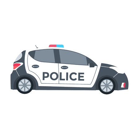 Vector police car side view isolated on white with flashing light, siren. Flat vector illustration of vehicle.