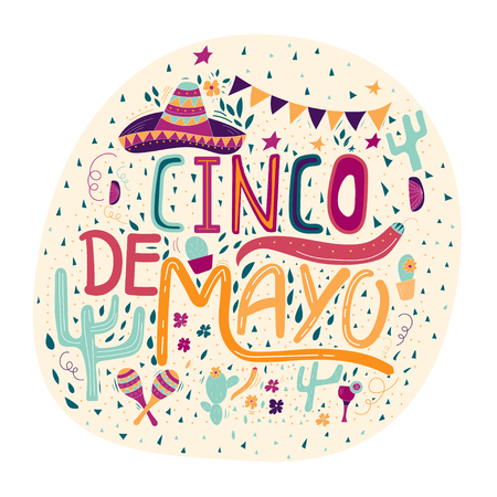 Banner or card for Cinco de Mayo celebration. Holiday poster with hand drawn calligraphy lettering
