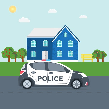 Police patrol on a road with police car, house, nature landscape, vehicle with rooftop flashing lights flat vector illustration.