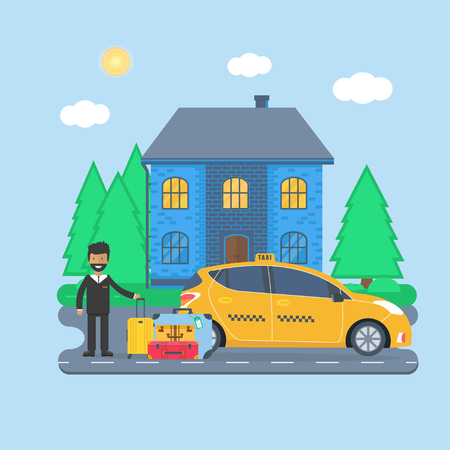 Machine yellow cab with driver and baggage  in the city. Public taxi service concept. Flat vector illustration.