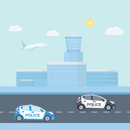 Police patrol on a road with police car, officer, modern building, nature landscape.  vehicle with rooftop flashing lights. Flat vector illustration.