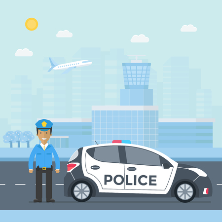 Policeman on a road with police car template