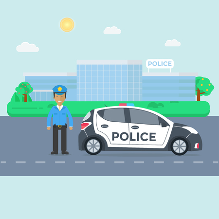 Police patrol on a road with police car, officer, modern building, nature landscape. Policeman in uniform, vehicle with rooftop flashing lights. Flat vector illustration. 일러스트