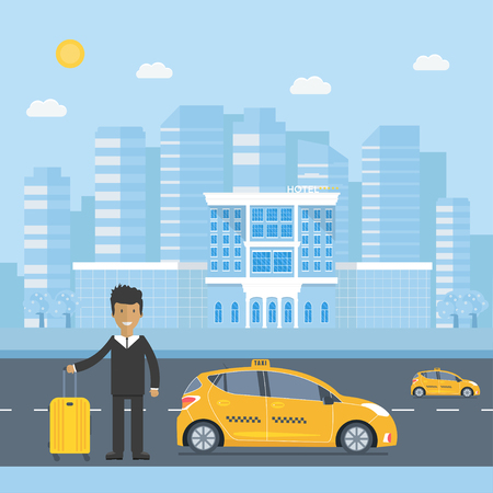 Machine yellow cab with driver, baggage, hotel  in the city. Public taxi service concept. Flat vector illustration.