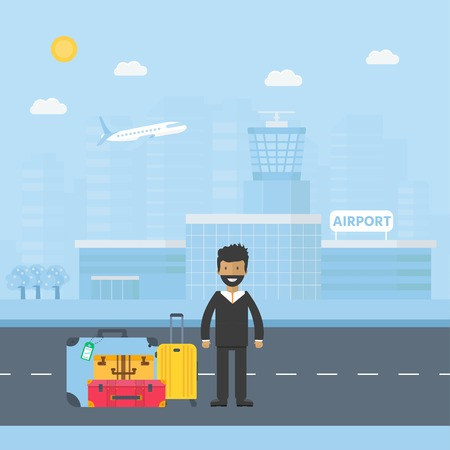 Banner with airport terminal  in the background with city skyline character and baggage. Vector flat design illustration of modern airport building.  Ilustração
