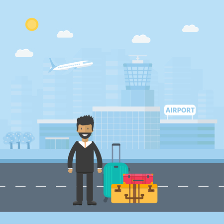 Banner with airport terminal  in the background with city skyline character and baggage. Vector flat design illustration of modern airport building.  Иллюстрация