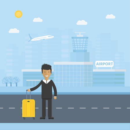Banner with airport terminal  in the background with city skyline character and baggage. Vector flat design illustration of modern airport building.  Illustration