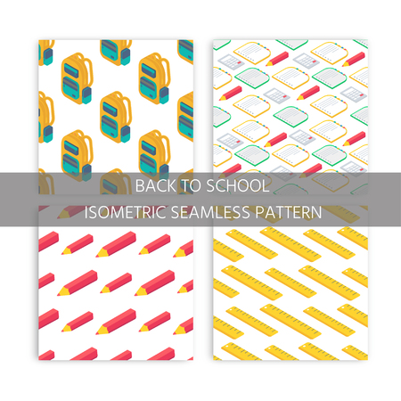 Collection of seamlees pattern with Isometric 3d school supplies screen, calculator, book, notebook, pen, backpack, scissors, eraser and ruler. Vector Back to school background with stationery. Office accessories.