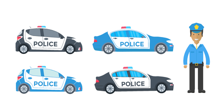 Police patrol on a road with police car, officer. Policeman in uniform,  vehicle with rooftop flashing lights. Flat vector illustration.