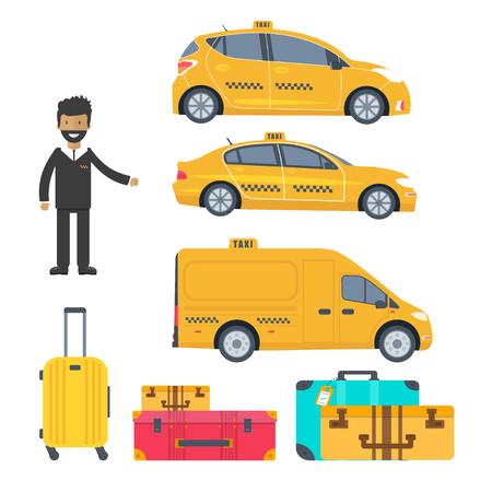 Conjunto de cabina amarilla de máquina diferente, camión con conductor y equipaje aislado sobre fondo blanco. Ilustración de vector plano.