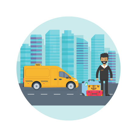 Machine yellow cab with driver in the city. Public truck taxi service concept. Flat vector illustration.