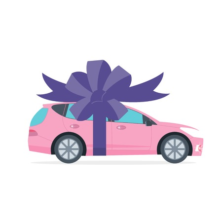 Poster with pink machine and ribbon. Car gift concept or presentation of  auto for sale, rent,. Flat vector illustration.