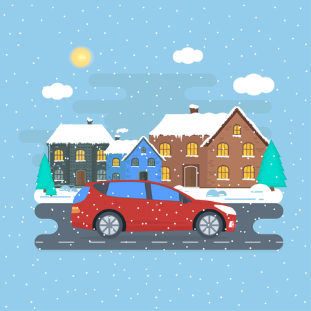 Poster with red machine on winter house background. Car gift concept or presentation of  auto for sale, rent,. Flat vector illustration. Illustration