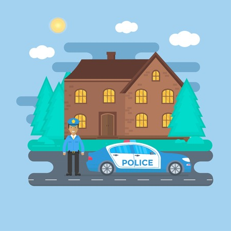 Police patrol on a road with police car, officer, house, nature landscape. Policeman in uniform, vehicle with rooftop flashing lights. Flat vector illustration.