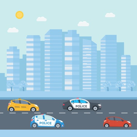 Police patrol on a road with police car, officer, city, nature landscape. Policeman in uniform, vehicle with rooftop flashing lights. Flat vector illustration.