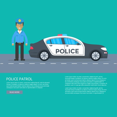 Police patrol on a road with police car for banner, poster, web page. Policeman in uniform, vehicle with rooftop flashing lights. Flat vector illustration.