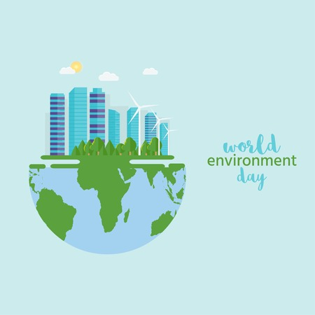 Happy World Environment Day postcard with green city background, wind turbine. Eco friendly ecology concept. Save the earth. Stock Illustratie
