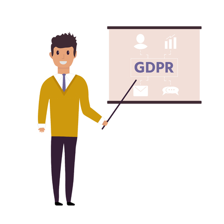 European General Data Protection Regulation. GDPR concept with character. General rules and ideas of protection and control personal data. Vector illustration. Illustration