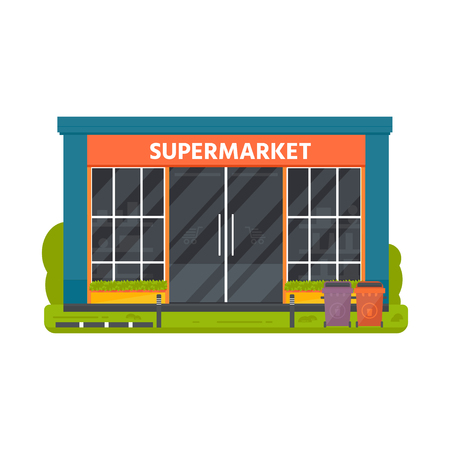 Vector flat design restaurants exterior and shops facade:  supermarket. Store front window buildings icons isolated on white background. Иллюстрация