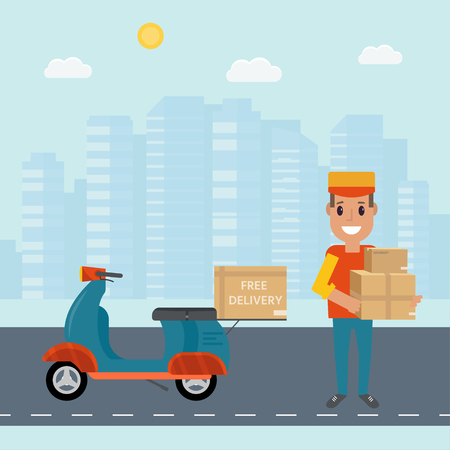 Logistics and delivery service concept: motorbike,  smiling couriers with packages, scooter and city background. Postal service creative icons design. Vector flat illustration Illustration