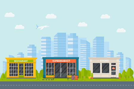 Set of vector flat design restaurants exterior and shops facade: book store, barber shop, supermarket, coffee. Store front window buildings icons with city background.