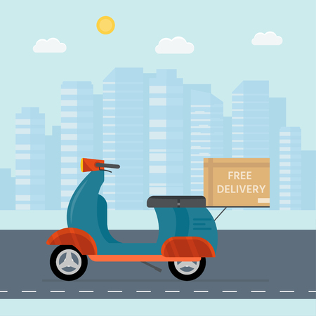 Logistics and delivery service concept: motorbike,  bike with packages, scooter and city background. Postal service creative icons design. Vector flat illustration Illustration