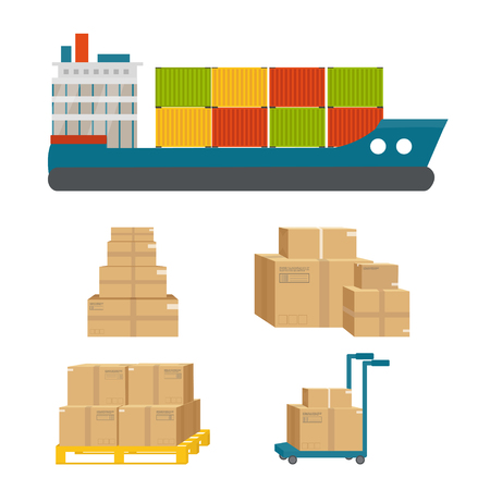 Logistics and delivery icon service of shipping cargo with packages  isolated on white background. Postal service creative design. Vector flat illustration.