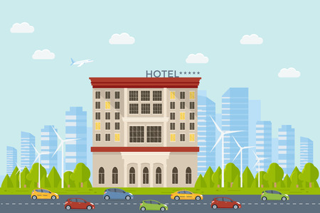 Expensive luxury hotel in the city, flat vector motel building on street road with cars, town landscape, front view cityscape. Travel and tourism concept.