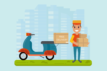 Logistics and delivery service concept: motorbike, smiling couriers with packages, scooter, building and city background. Postal horizontal banner design. Vector flat illustration