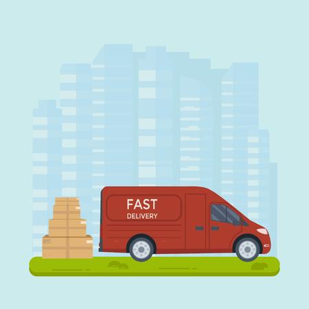 Concepto de servicio de entrega y logística: camión, camión, furgoneta con paquete y fondo de la ciudad. Diseño de banner creativo de servicio postal. Ilustración vectorial plana