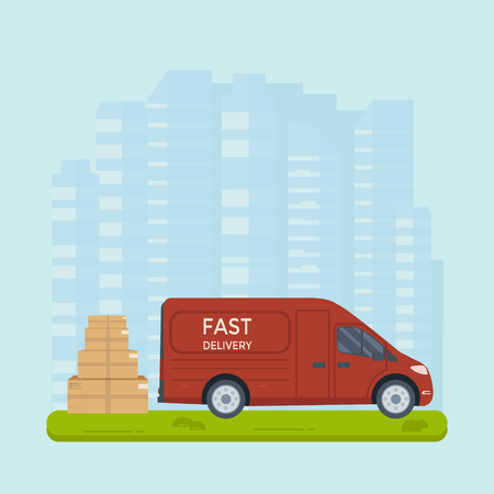 Logistics and delivery service concept: truck, lorry, van with package and city background. Postal service creative banner design. Vector flat illustration