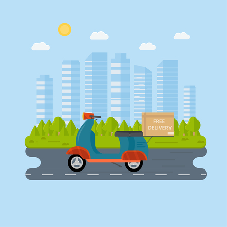 Logistics and delivery service concept: motorbike,  bike with packages, scooter on city background. Postal service creative icons design. Vector flat illustration Illustration