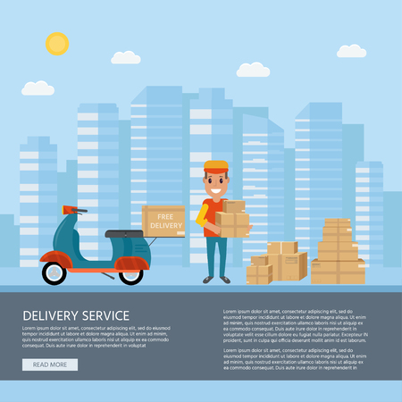 Logistics and delivery service concept: motorbike, smiling couriers with packages, scooter, building and city background. Postal service creative icons design. Vector flat illustration