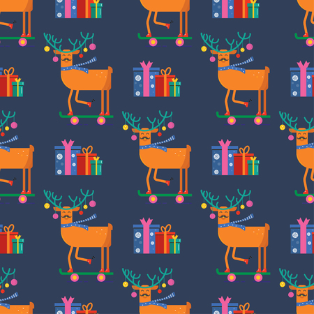 Seamless pattern for Merry Christmas greeting card with cute animals: reindeer with scarf, skateboard, gift and ball . Illustration for presents, invitation, children interior design, scrapbooking. Ilustrace