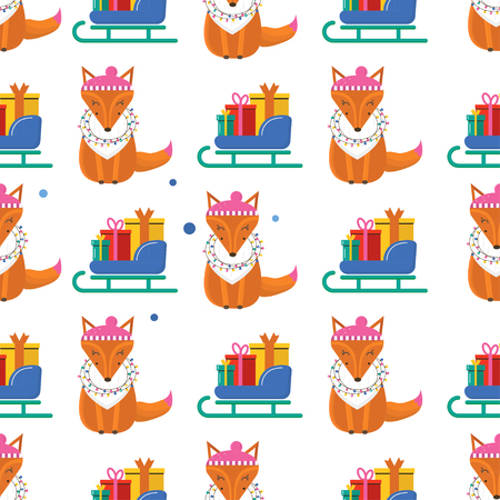 Seamless pattern for Merry Christmas greeting card with cute fox, garland, sleigh with gift. Illustration for presents, invitation, children interior design, scrapbooking.