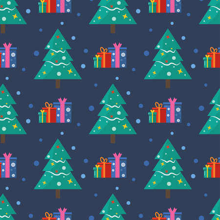 Seamless pattern for Merry Christmas greeting card with tree snow and gifts. Illustration for presents, invitation, children interior design, scrapbooking.