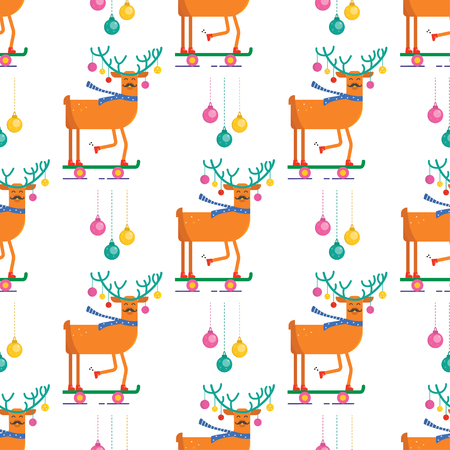 Seamless pattern for Merry Christmas greeting card with cute animals: reindeer with scarf, skateboard and ball . Illustration for presents, invitation, children interior design, scrapbooking.
